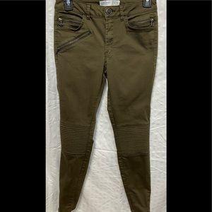 Zara Khaki Green Skinny Moto Jeans